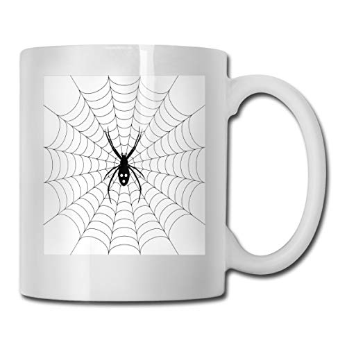 Funny Ceramic Novelty Coffee Mug 11oz,Poisonous Bug Venom Thread Circular Cobweb Arachnid Cartoon Halloween Icon,Unisex Who Tea Mugs Coffee Cups,Suitable for Office and Home -