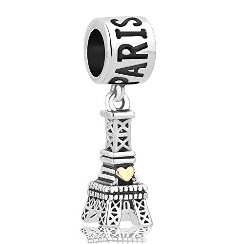 LilyJewelry Paris Eiffel Tower With Heart Love Charm Dangle Beads For Snake Chain Bracelet