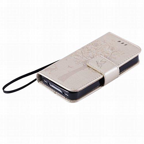 Custodia Apple iphone 4 4s Cover Case, Ougger Alberi Gatto Printing Portafoglio PU Pelle Magnetico Stand Morbido Silicone Flip Bumper Protettivo Gomma Shell Borsa Custodie con Slot per Schede (Oroen)