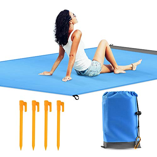 QIANXIANG Outdoor Beach Blanket,57'x 78' Extra Large Sand Free & Waterproof & Dust-Proof Mat, Fast Dry Easy to Clean Rug for Travel, Camping, Hiking and Music Festivals -Durable Tarp with Corner Stake