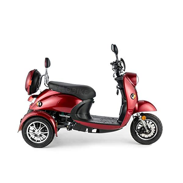 VELECO ZT63 Scooter elettrico 3 ruote per anziani e disabili Seniors Allarme 650W ROSSO 4 spesavip