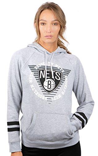 NBA Women's Fleece Hoodie Pullover Sweatshirt Varsity Stripe, Team Logo Gray – DiZiSports Store