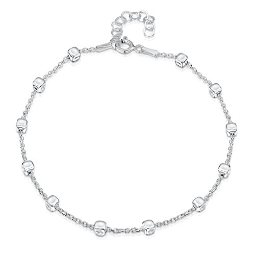 """925 Fine Sterling Silver 1.7 mm Adjustable Anklet - Trace Chain with 3.2 mm Cube Beads Ankle Bracelet - 9"""" to 10"""" inch - Flexible Fit"""