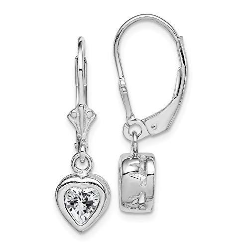 925 Sterling Silver 6mm Heart Cubic Zirconia Cz Leverback Earrings Lever Back Drop Dangle Love Fine Jewelry Gifts For Women For Her