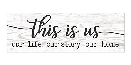 This is Us Our Life Our Story Our Home Rustic Wood Wall Sign 6x18 (White) (Decor For Home Signs)