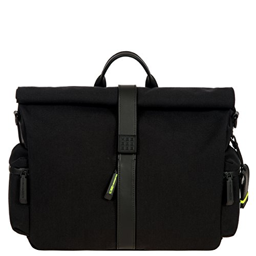 Bric's Men's Moleskine Roll-Top Tablet Business Laptop Messenger Bag, Black, One Size by Bric's