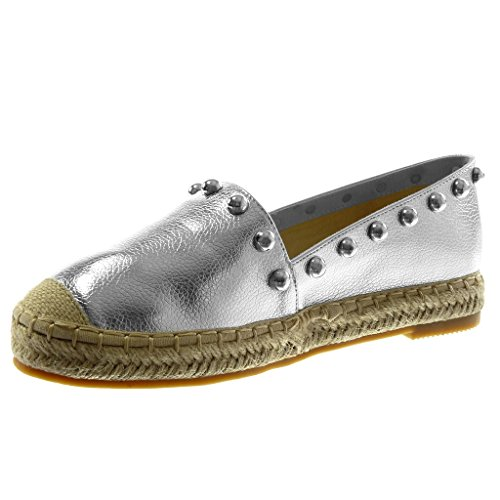 Tacón 5 Cuerda Tachonado Plata Alpargatas Zapatillas Perla on Mujer Moda Angkorly 2 Ancho Slip Cm 1n8xzBwq17