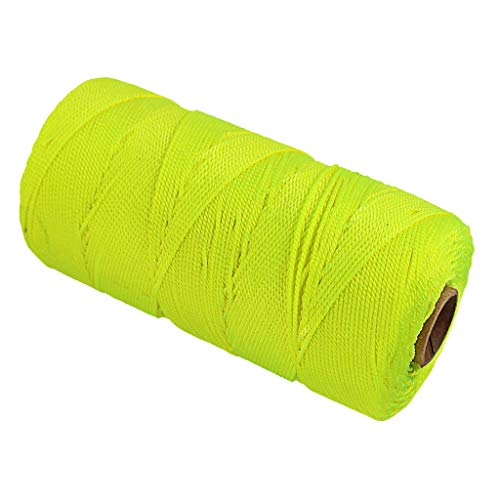 SUNTQ Twisted Nylon Mason Line - Moisture, Oil, Acid & Rot Resistant - Twine String for Masonry, Marine, DIY Projects, Crafting, Commercial, Gardening (500 feet - Single Roll-Fluorescent yellow) (Hanging Exterior Fluorescent)
