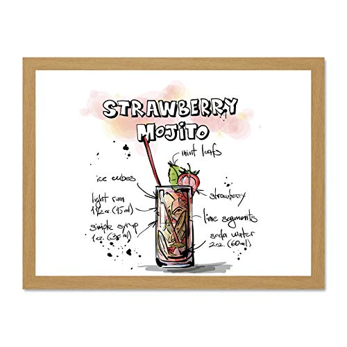 Doppelganger33 LTD Painting Alcohol Cocktail Recipe Strawberry Mojito Art Large Framed Art Print Poster Wall Decor 18x24 inch Supplied Ready to Hang ()