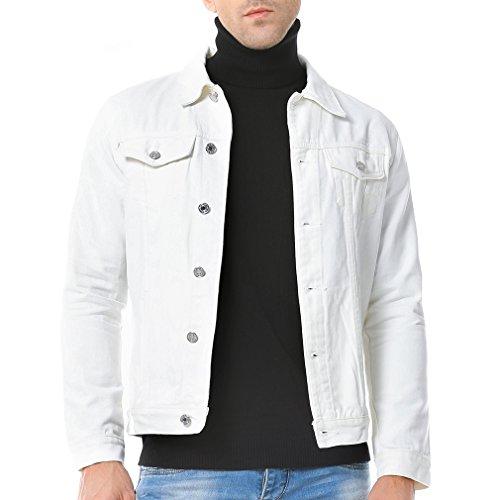 Just No Logo Men's Casual Denim Jacket(White,US ()