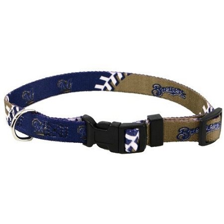 Hunter MFG Milwaukee Brewers adjustable nylon Dog Collar - Small