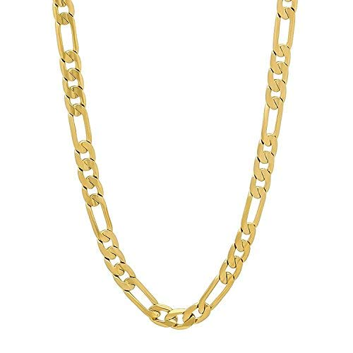 Dubai Collections Figaro 24k Chain Necklace Men's/Women Jewelry 5mm 24-28inch (24)