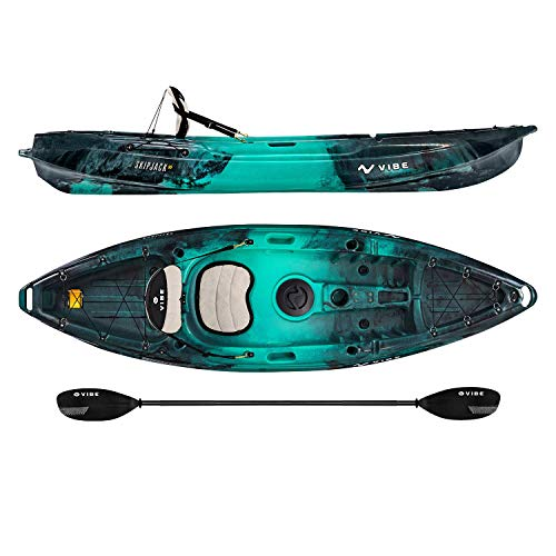 Vibe Kayaks Skipjack 90 | 9 Foot | Angler and Recreational Sit On Top Light Weight Fishing Kayak with Paddle and Seat (Caribbean Blue)