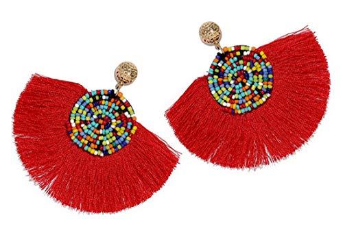 (Beads Thread Long Tassel Dangle Drop Earrings Ethnic Geometric Charms Eardrop (Red))