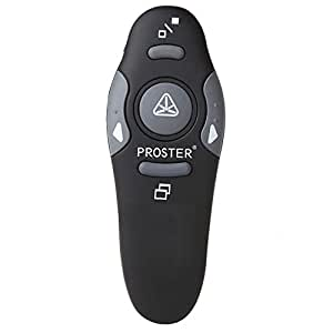 Proster Wireless Presenter 2.4GHz Wireless USB PowerPoint PPT Presenter Remote Control with Red Pointer for Teaching Presentations Speech School Assemblies and etc