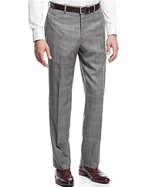 Grey Plaid Wool Blend Flat Front New Men's Finished Dress Pants