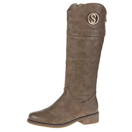 Ital-Design - Botas plisadas Mujer Marrón - Braun Grau