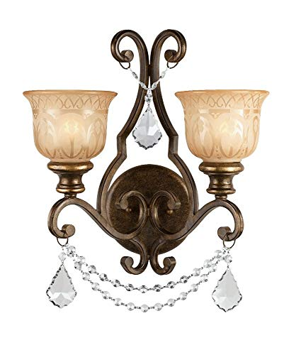 Crystorama 7502-BU-CL-S Crystal Accents Two Light Wall Sconce from Norwalk collection in Bronze/Darkfinish, 10.00 inches