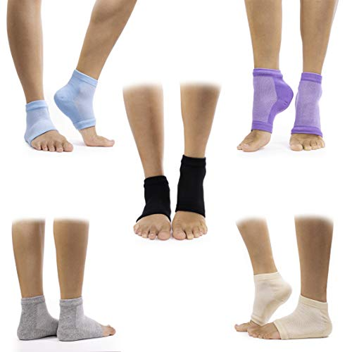 Callus Remover Gel Moisturizing Socks For Men and Women - Natural Remedy For Cracked and Dry Heels (5 Pair) Black, Grey, Nude, Blue, and Purple (Best Used With Foot Cream)