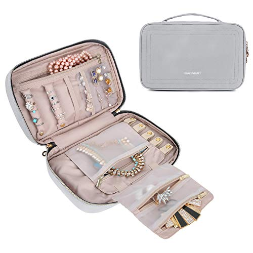 BAGSMART Travel Jewelry Storage Cases Jewelry Organizer Bag for Necklace, Earrings, Rings, Bracelet, Grey