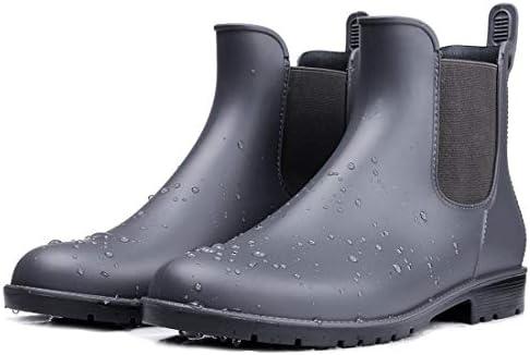 smiry Bottes de pluie courtes pour femmes bottines Chelsea en caoutchouc antidérapantes imperméables