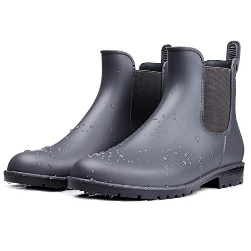 smiry Women's Short Rain Boots Waterproof Anti Slip Rubber Ankle Chelsea Booties GY39 ()