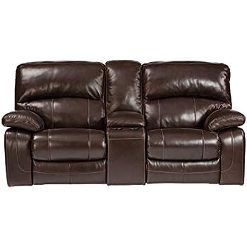 Ashley Furniture Signature Design - Damacio Glider Recliner Loveseat with Console - 1 Touch Power Reclining  sc 1 st  Amazon.com & Amazon.com: Ashley U9820091 Damaicio - Dark Brown Double Glider ... islam-shia.org
