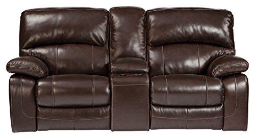 Ashley Furniture Signature Design - Damacio Glider Recliner Loveseat with Console - 1 Touch Power Reclining - Dark Brown