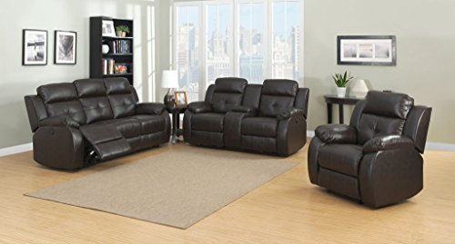 AC Pacific Troy Collection Modern 3-Piece Upholstered Leather Transitional Reclining Living Room Set with Sofa, Glider Chair, and Loveseat with Storage Console and Cup Holders, Espresso Collection Loveseat Glider
