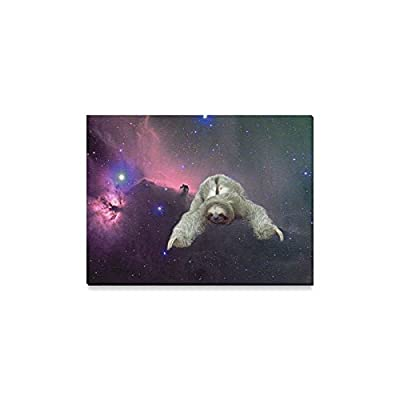 Space Universe Galaxy Cute Sloth Flying Oil Painting Home Decoration Canvas Prints- 16X12 Inch(One Side) - Sloth Art
