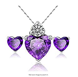 Purple Diamond Heart Style Crystal Jewelry Set
