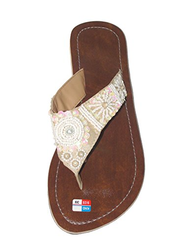 SAWA Damen Flip Sandale Fairy Pearl Zehentrenner Zehenpantolette
