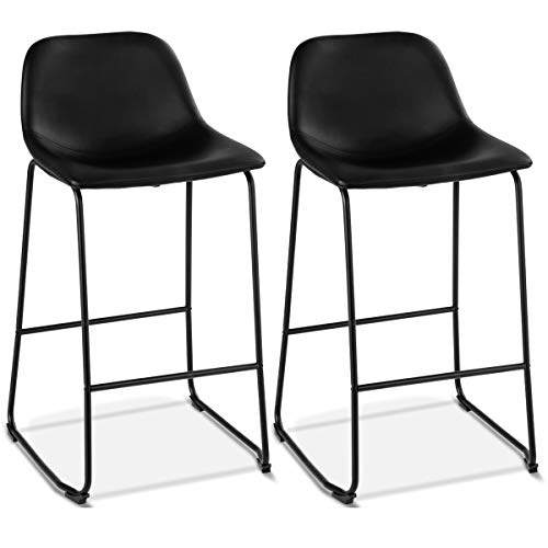 (COSTWAY Set of 2 Bar Stools Modern Contemporary PU Leather Bar Height Armless Padded Seat Pub Bistro Kitchen Dining Side Chair Barstools with Metal Legs (Black))