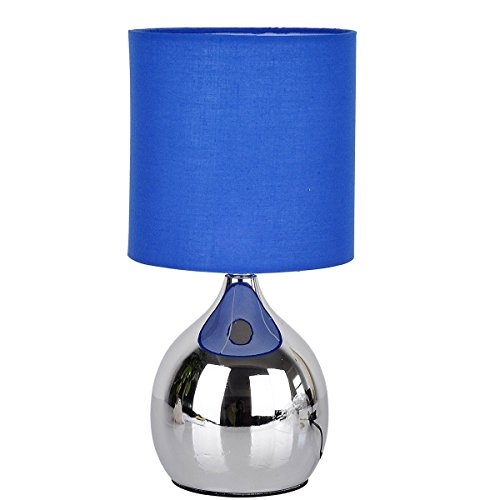 WERFACTORY Mini Touch Control Table Nightstand Bedside Lamps BLUE Fabric Shades 4 Stage W15H30CM Modern Chrome Small Table Desk Reading Light For Kids Room, Living Room, Bookcase, Dresser