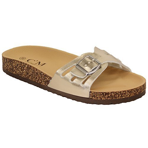 Ladies Slippers Slip On Flat Mule Sandals Womens Sliders Patent Cork Flip Flops Gold - 2011 WmlRYty