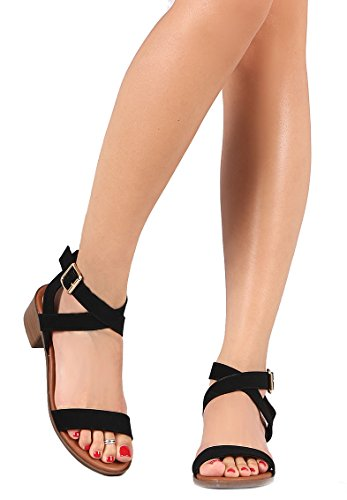 Dress Buckle Front Stacked Black LUSTHAVE Heel Adjustable Ankle Sandal Gladiator Strap Wrap Summer Chunky Women's xZ44wqHBS