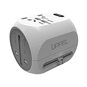 Travel Adapter, UPPEL Universal Power Adapter, European Adapter Wall Charger Power All in One Worldwide AC Power Converters with USB & Type-C Port for US, AU,Asia, EU, UK and Over 150 Countries(White)