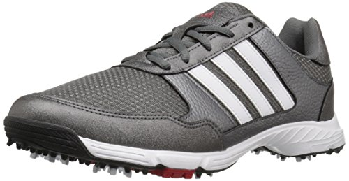 adidas Men's Tech Response Golf Shoe, Iron Metallic/White, 10.5 W US
