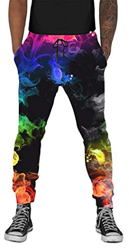 Belovecol 80s 90s Novelty 3D Jogging Pants for Mens Women Cool Graphic Colorful Smoke Active Baggy Sweatpants with Drawstring Plus Size L