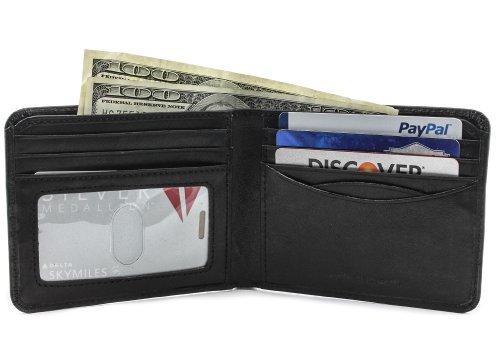 Tony Perotti Mens Italian Cow Leather Classic Bifold Wallet with ID Window in - Bi Classic Fold