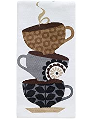 """T-fal Textiles Double Sided Print Woven Cotton Kitchen Dish Towel, 16"""" x 26"""", Coffee Cup Stack Print"""