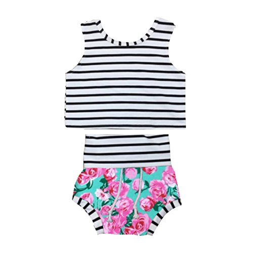 Floral Shorties with Striped Crop Top Beachwear Set (12-18 Months) (Robin Outfit For Babies)
