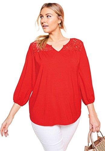 - Jessica London Women's Plus Size Lace Yoke Tunic Hot Red,26/28