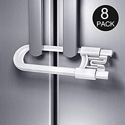 Adoric Sliding Cabinet Locks, U Shaped Baby Safety Locks, Childproof Cabinet Latch for Kitchen Bathroom Storage Doors, Knobs and Handles