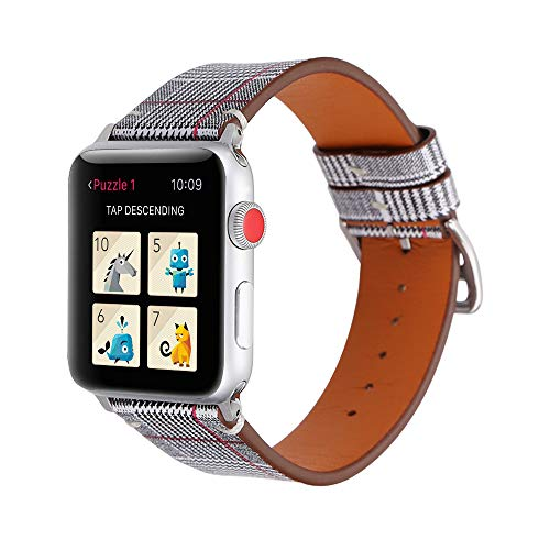 Sunbona Band for Apple Watch 42mm, Houndstooth Genuine Leather Strap Bracelet Wristband for Apple Watch Series 2, Series 1, Sport Edition (Red)