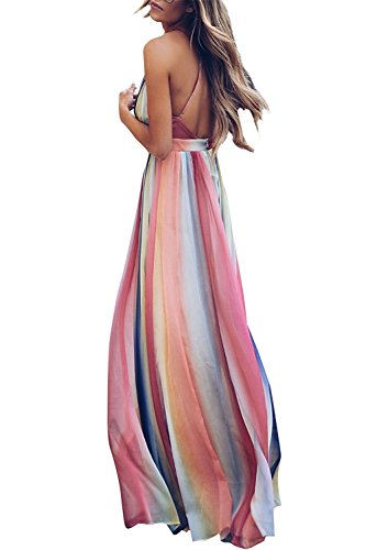 Dress Rainbow Long Swing V Neck Maxi Colorful Backless UINOLO Halter Women's Sexy Colorful Dresses Striped qZPOvO