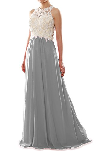 Chiffon Dress Women Ball MACloth Gown Prom Silber Formal Lace High Long Party Neck gdqfI