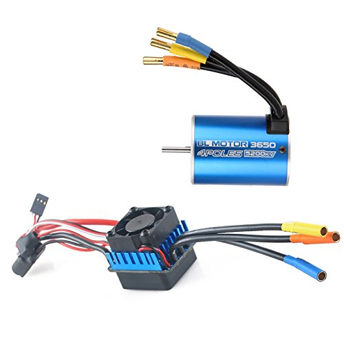 3650 5200KV 3.175mm Sensorless Brushless Motor with 60A Brushless ESC(Electronic Speed Controller) for 1:10 Racing Truck Truggy RC Cars by RCRunning(Blue)
