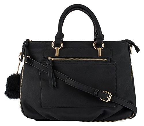 Dot Dash Jamie Satchel (Black) (Cheap Designer Bags)