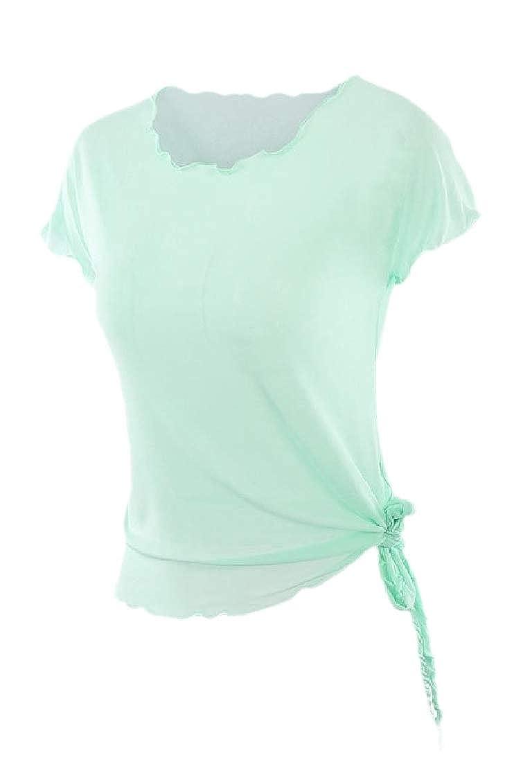 HTOOHTOOH Women Crop Tops See Through Casual Mesh Short Sleeve Sheer Tops